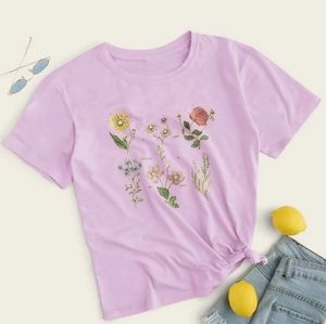 Flower Graphic Purple Tee